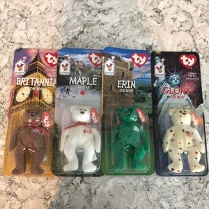 Set of 4 Collector TY mini beanie babies